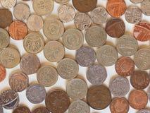 Монетки фунта, Великобритания Стоковые Фото