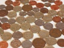 Монетки фунта, Великобритания Стоковые Изображения