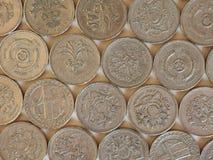Монетки фунта, Великобритания Стоковое Фото