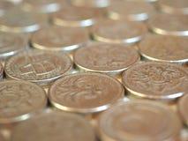 Монетки фунта, Великобритания Стоковое фото RF