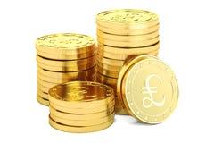 Монетки фунта стерлинга золота, перевод 3D иллюстрация вектора
