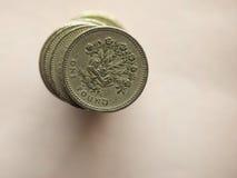 Монетки фунта GBP Стоковая Фотография