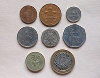 Монетки фунта GBP Стоковое Изображение