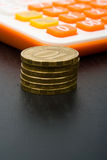 монетки чалькулятора Стоковая Фотография RF