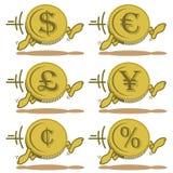 Монетки шаржа идущие Стоковое фото RF