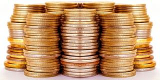 монетки штанг штабелировали Концепция роста дохода Стоковая Фотография