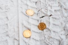 Монетки Copprito bitcoin золота лежат на снеге Никто В зиме на дороге, трассировки автомобилей стоковое фото
