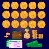 Монетки Cryptocurrency, деньги, комплект дела бесплатная иллюстрация