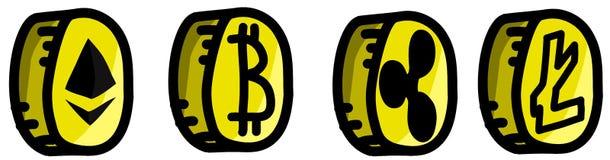 Монетки cryptocurrency золота установили, Etherum, Bitcoin, Litecoin и пульсация Стоковые Изображения RF