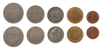 Монетки deutschemark изолированные на белизне Стоковое Изображение
