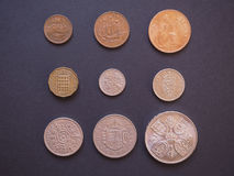 Монетки GBP Predecimal Стоковое Изображение RF