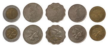 Монетки Hong Kong изолированные на белизне Стоковое Изображение