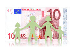 Бумажные семья и кредитка евро 10 Стоковые Изображения RF