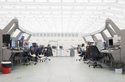 Монитор и радиолокатор воздушного движения в комнате центра управления Стоковое Изображение