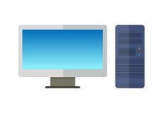 Монитор компьютера с блоком компьютерной системы Стоковое Изображение RF