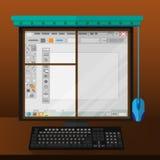 Монитор компьютера любит окно Стоковая Фотография RF
