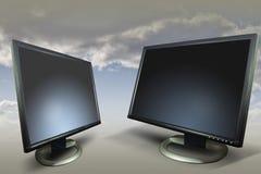 монитор маркетинга 2 дисплеев стоковое изображение rf