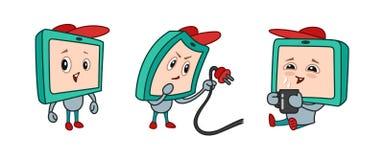 Монитор персонажа из мультфильма с утехой эмоций, не достаточной энергией, удовольствием от перерыва на чашку кофе иллюстрация вектора
