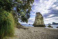 Монолит утеса песчаника за камнями в песке на соборе c стоковые изображения
