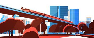 Монорельс метро над знаменем горизонта предпосылки городского пейзажа взгляда небоскреба города плоским горизонтальным