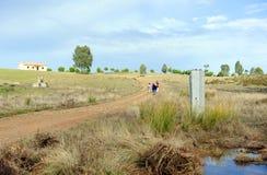 Монолит в через de Ла Plata, El Berrocal в Almaden de Ла Plata, провинции Севильи, Андалусии, Испании Стоковые Фото