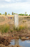 Монолит в через de Ла Plata, El Berrocal в Almaden de Ла Plata, провинции Севильи, Андалусии, Испании Стоковая Фотография RF