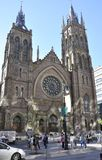 Монреаль, 27-ое июня: Фасад собора церков Христоса от центра города Монреаля в Квебеке ProvincJ Стоковое Фото