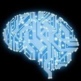 Монтажная плата в форме человеческого мозга. Технологическая иллюстрация. Стоковое фото RF