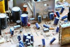 Монтажная плата радиотехнической схемы крупного плана Стоковые Изображения RF