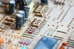 Монтажная плата радиотехнической схемы крупного плана Стоковые Изображения
