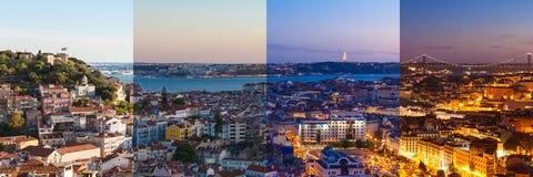 Монтаж вида с воздуха крыши Лиссабона от Senhora делает взгляд Monte стоковые изображения