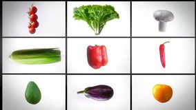 Монтаж закручивать влажные овощи, на белой предпосылке, коллаж сток-видео