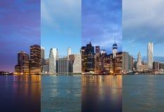 Монтаж ночи горизонта Манхаттана к дню - Нью-Йорк - США стоковая фотография