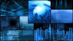 Монтаж технологии - анимация экранного дисплея данным по компьютера сток-видео