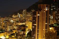 Монте-Карло Монако на ноче Стоковая Фотография