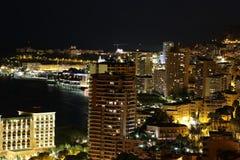 Монте-Карло Монако на ноче Стоковое Фото