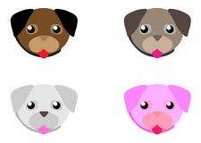 Мопс мультфильма сети смотрит на набор Прелестная маленькая собака с различными эмоциями Милый плоский вектор иллюстрация вектора