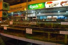 Морепродукты на льде на рыбном базаре Разнообразие зажаренных морепродуктов в рынке Kota Kinabalu Стоковая Фотография RF