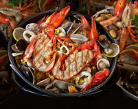 Морепродукты. Подготовленные Shellfish. Среднеземноморск. Стоковое фото RF