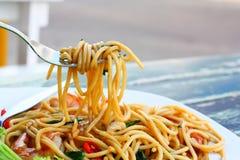 Морепродукты спагетти пряные Стоковое Изображение