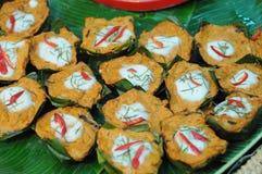 Морепродукты испаренные карри в чашке кокоса Стоковое фото RF
