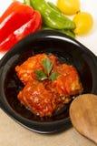 Морепродукты рыб трески с томатом Стоковое Фото