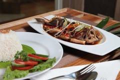 Морепродукты рыб Groper азиатские с рисом Стоковое Изображение