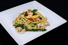 Морепродукты спагетти Стоковое Изображение