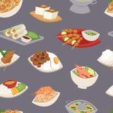 Морепродукты Таиланда кухни плиты традиционной тайской еды азиатские варя безшовную иллюстрацию вектора предпосылки картины иллюстрация вектора