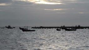 Море Азии в вечере, взгляде seascape океана сток-видео