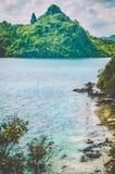 море ландшафта рисуночное Остров змейки Остров Vigan El Nido, Филиппиныы Стоковая Фотография RF