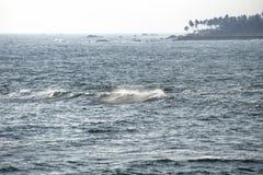 Море, волны и пальмы, Галле, Шри-Ланка Стоковая Фотография RF