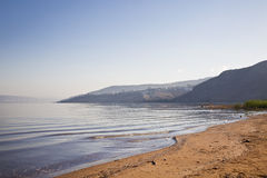Море Галилеи с горами Джордана на горизонте, Стоковое Изображение