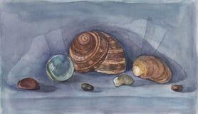 море жизни все еще Seashells рисуя акварель Стоковые Изображения